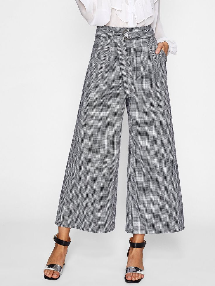 Shop O-Ring Belt Detail Plaid Palazzo Pants online. SheIn offers O-Ring Belt Detail Plaid Palazzo Pants & more to fit your fashionable needs.