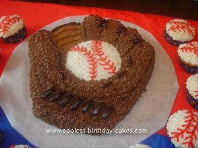 Homemade Baseball Glove Cake: I made this baseball glove cake for my son's 3rd birthday party. He was crazy about baseball. I used a Wilton glove pan. I made a white cake with butter