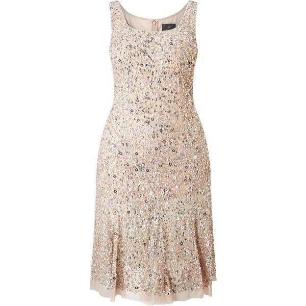 Adrianna Papell Plus Size Sleeveless Beaded Cocktail Dress,... ($330) ❤ liked on Polyvore featuring dresses, plus size sequin dress, maxi dresses, sparkly cocktail dresses, maxi cocktail dresses and knee length cocktail dresses