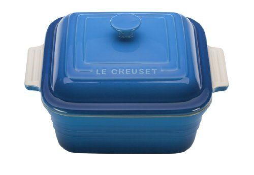 Le Creuset Stoneware 3-Quart Square Casserole with Lid, Marseille by Le Creuset of America. $84.95. Measures approximately 9 by 11 by 7-inch. Dishwasher-safe; oven-safe up to 500-degrees F. Secure-fitting stoneware lid with round knob traps in heat and moisture. Sure-grip side handles facilitate a steady hold during transport. 3-quart square casserole made of stoneware with an enamel finish. Le Creuset Bakeware: Le Creuset Stoneware 3-Quart Square Casserole with Lid, Marsei...