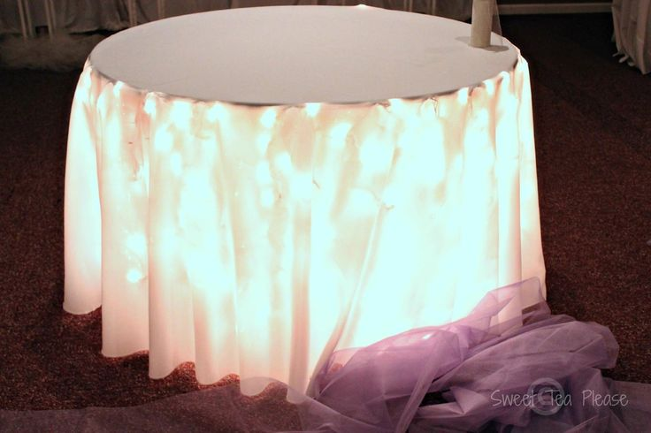 Goddess of Eats: Decorating a Cake Table With Lights and Tulle - A Tutorial, how to use white lights under a wedding cake table Light up the cake table!