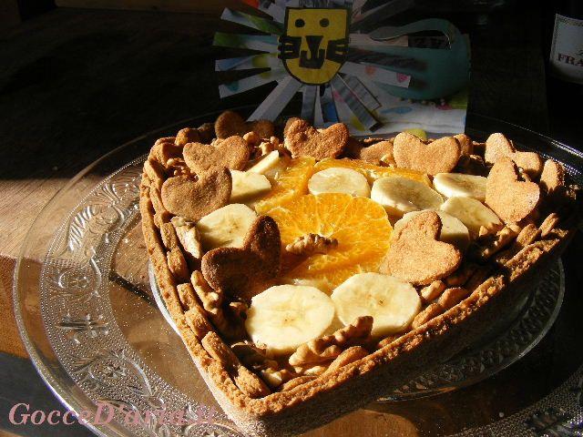 Torte di compleanno per Elena: crostata d'orzo con mele, fichi e noci e pan di Spagna al cacao