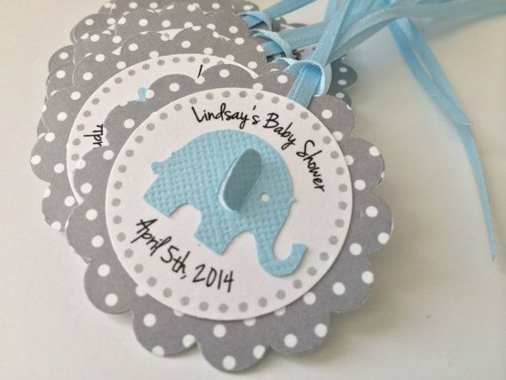 12 Grey Polka Dot with Blue Elephant by PaperTrailbyLauraB on Etsy