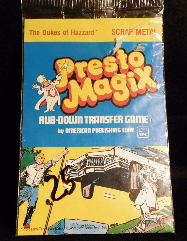 Dukes of Hazard Presto Magix Rub-Down Transfer Game Scrap Metal NIB 1981  | eBay
