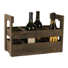 """Distressed wood wine crate.Product: Wine crateConstruction Material: Wood  Color: Charcoal  Features:  Eight sections       Dimensions: 6.75"""" H x 14.75"""" W x 7"""" D"""