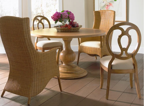 Axiom Woven Back Arm Chair Wood Side And Round Dining Table By Artistica Home Furnishings Mixing Shapes With A