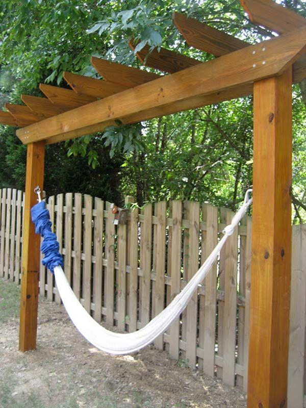 #5. Hang a hammock under the pergola for creating a backyard retreat.