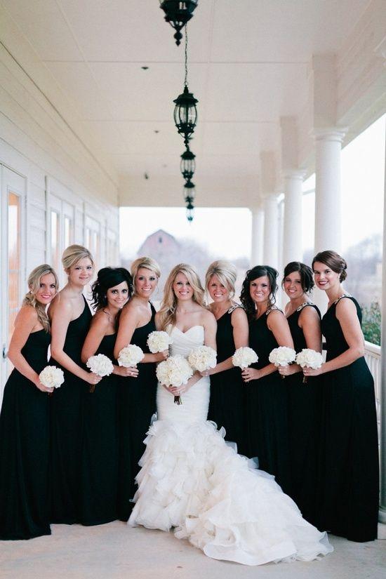 Bridesmaids In Black Too Dark Or Just Perfect Wedding