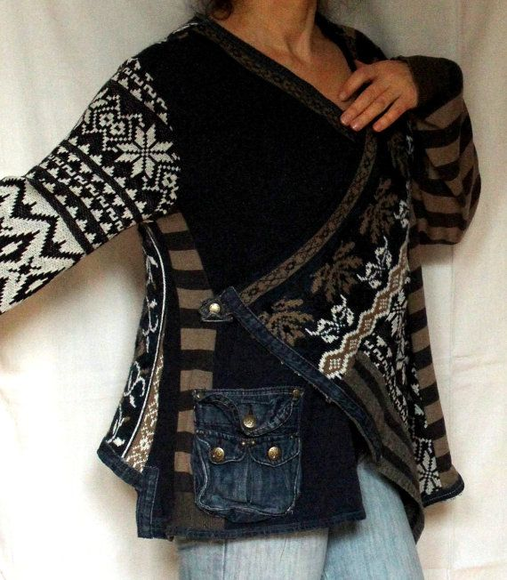 Denim jeans and sweaters recycled folk hippie boho top