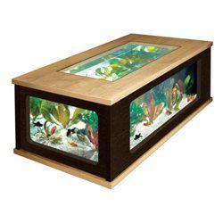 Table basse aquarium 300 litres chêne et wengé 75x130x57cm