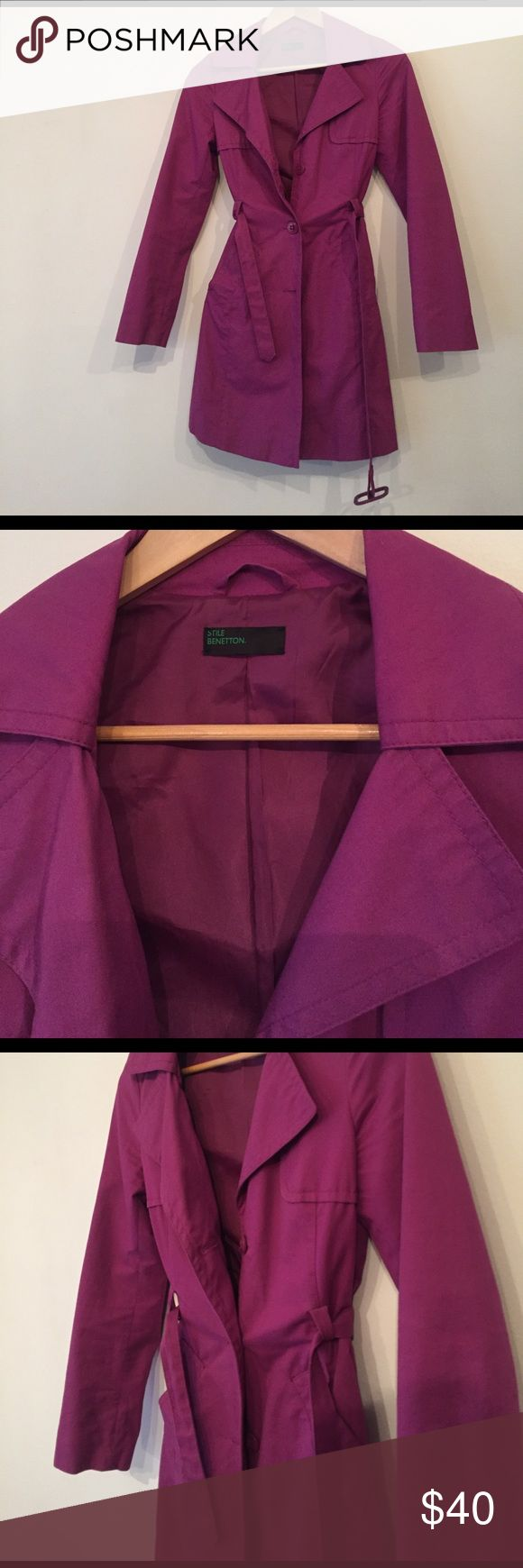Benetton purple trench coat The colour is lovely and fits well to body. Great condition. Eu size 38. I would say fits like a 0/xs Jackets & Coats Trench Coats