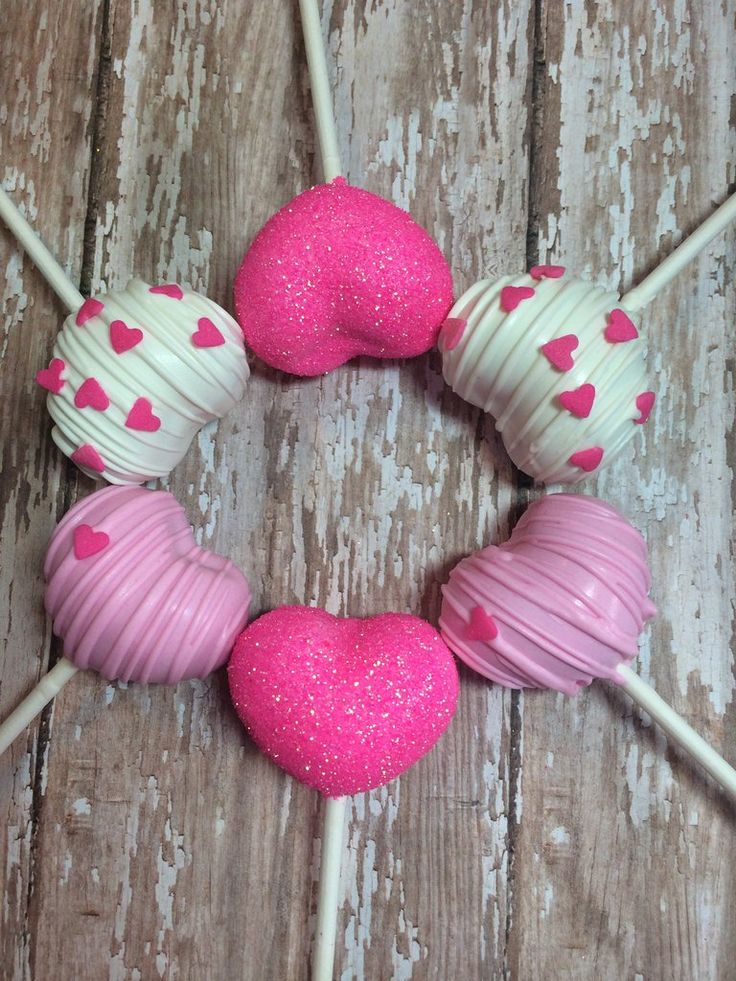 12 Valentines Day Love Heart Shaped Cake Pops Wedding Baby Shower Corporate Event Pink Hearts Birthday Party