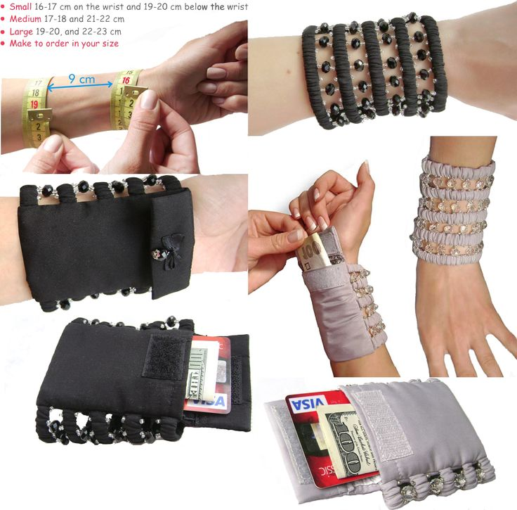 Exclusive wide bracelet with a secret purse, Standard sizes; average 17-18 and 21-22 cm or large size 19-20, and 22-23 cm