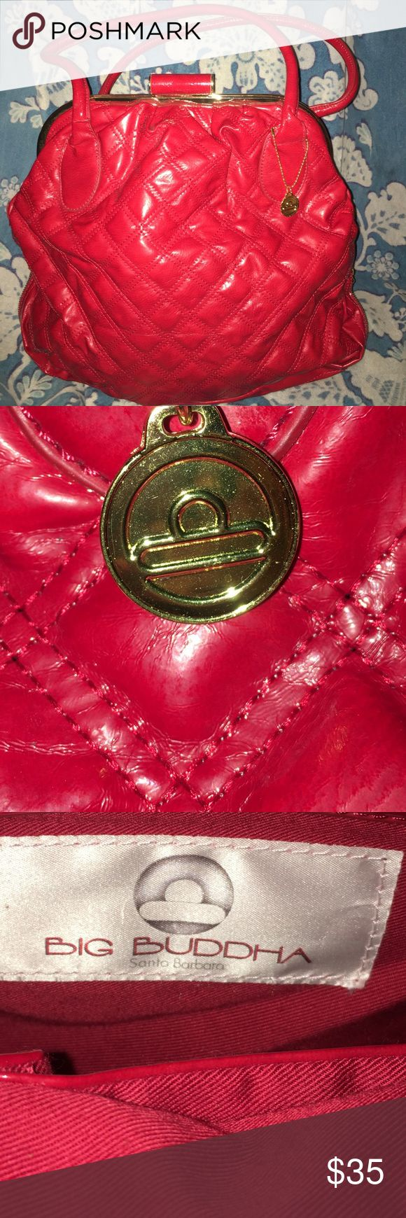 NWOT Big Buddha Red Patented Oversized Bag From the gym to a date this NWOT Big Buddha Red Patent Leather Oversized  Quilted Bag is Fun & Sexy!  Clean, Inside Pocket with gold charm. Zipper on bottom helps to expand the bag for more storage. Measurements to follow.. Big Buddha Bags Travel Bags