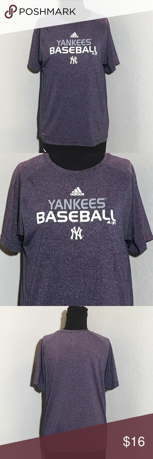 """Adidas Purple Yankee Baseball Fitted T Shirt Sz L Women's adidas Yankees baseball purple graphic t shirt Sz L Measurements 18"""" armpit to armpit, 24"""" shoulder to hem. Excellent condition no flaws adidas Tops Tees - Short Sleeve"""