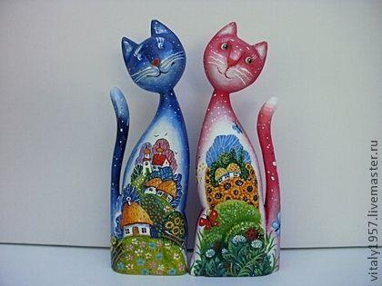 Игрушки животные, ручной работы. Ярмарка Мастеров - ручная работа Кошка и кот 2 . Скульптура, дерево , ручная роспись. Handmade.