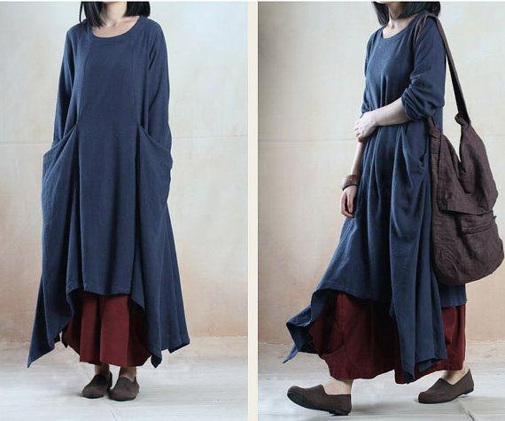 maxi dress / long dress /Linen dress/loose dress/long sleeve dress/Loose Fitting dress(100)/Spring and autumn