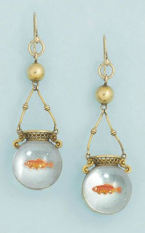 A pair of Victorian reverse painted crystal intaglio ear pendants. Each designed as a rock crystal spherical goldfish bowl with single painted goldfish, to gold twin bar and bead suspension and pierced basket work detail, circa 1870. #Victorian #antique #earrings