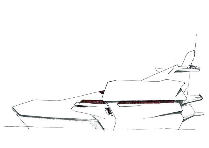 50m Trimaran yacht, concept drawing