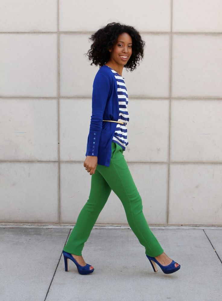 reverse though, sub cobalt jeans w/green top/shoes. love the kelly green + cobalt combo