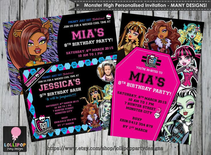 Monster High Personalised Invitation - Printable - Invites - Digital Print - Draculaura - Clawdeen Wolf - Birthday Party - DIY - JPG File by LollipopPartyDesigns on Etsy