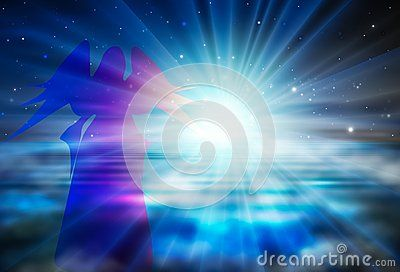 Blue and purple angel silhouette on surreal space wallpaper, foggy water and dark blue sky, beautiful space, bright white light with glowing big rays. Heaven