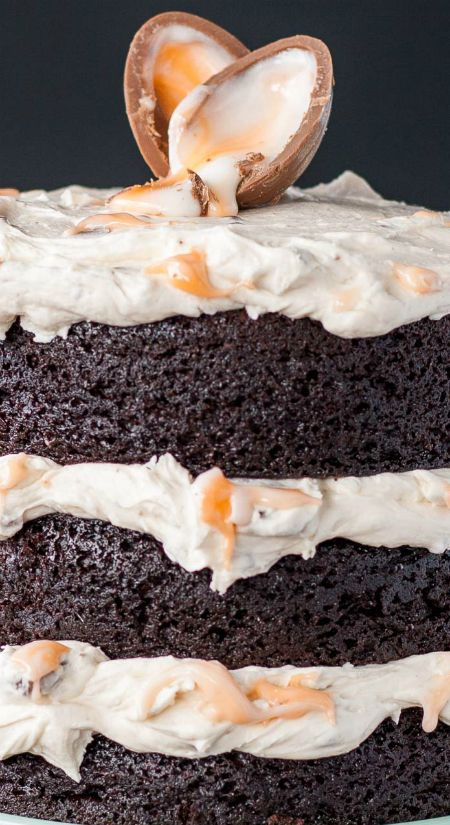 Cadbury Creme Egg Cake ~ A rich chocolate cake with a delicious Cadbury Creme Egg frosting... The perfect treat for Easter!