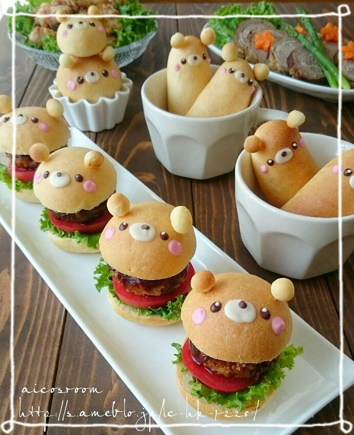 日本人のごはん/お弁当/パン Japanese meals/Bento/Bread 熊バーガー bear burgers