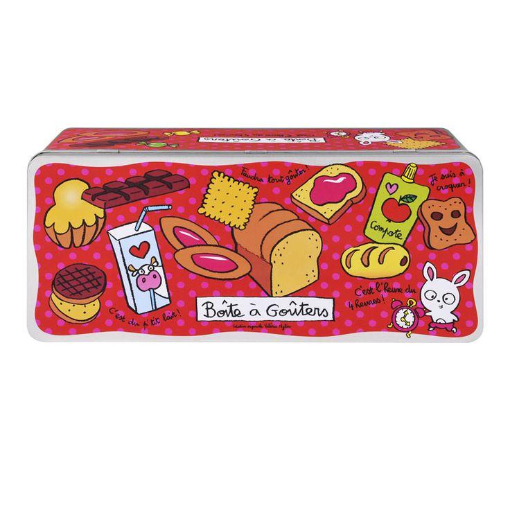 Boîte à Goûters C'est l'heure - Rouge - Derrière la Porte - DLP - Accessoire cuisine et rangement/Boîte métal et céramique - espritlogis-fr