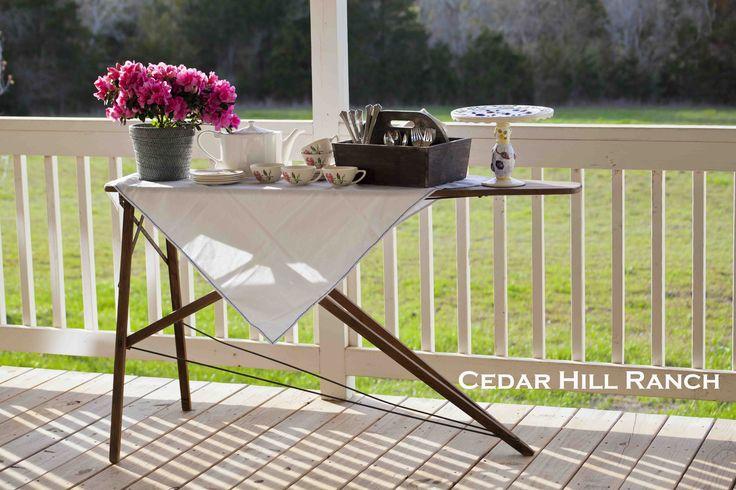 Ironing Board turned Sideboard www.cedarhillfarmhouse.com
