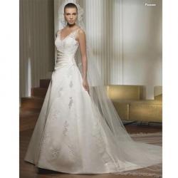 A-Line/Princess V-neck Chapel Train Satin Wedding Dress for Brides: Chapel Bridal, Wedding Dressses, V Neck Chapel, Bridal Dresses, Wedding Dresses, Alineprincess Vneck, Bridal Gowns, Chapel Training, Gowns 3Aa0367