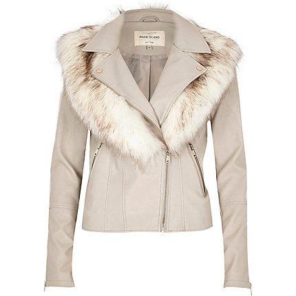 Stone faux fur collar biker jacket