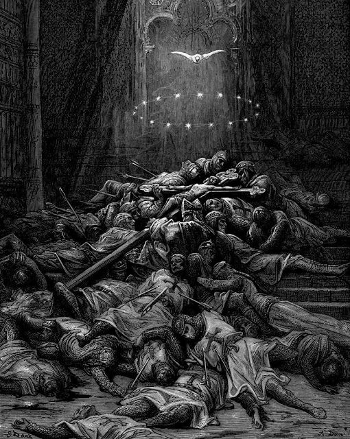 """Gustave Dore: A Celestial Light Illuminates the Unburied Bodies of the Soldiers Who Died at Sefed. (1875) from the series """"The Crusades"""""""