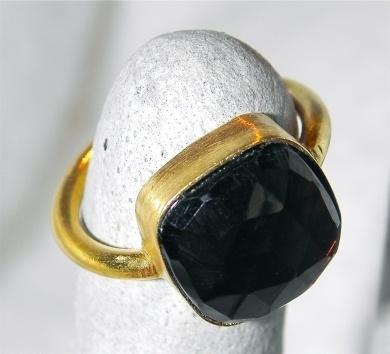 Gold Ring with large square Smoky quartz - #poshprezzi