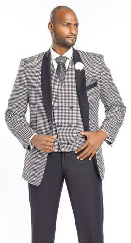 Mens-Designer-Blazer-Suit-3-Piece-Black-White-Check-M2699-Christmas-Holiday-Man
