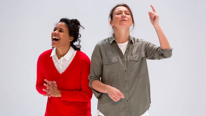 Zahra Newman and Anita Hegh in Love and Information, 2015 (Photo: Pia Johnson)