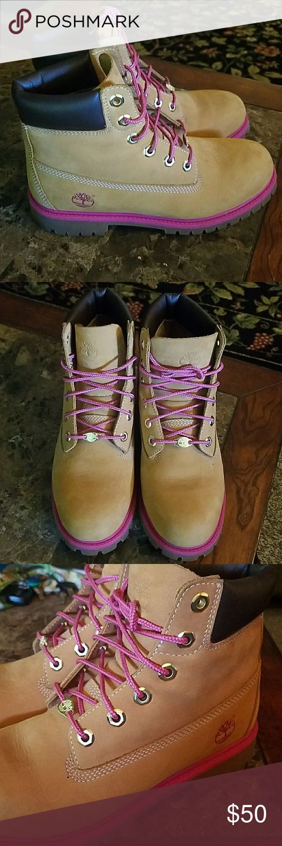 Pink Accented Boots These are super clean Timberlands with pink accents. Purchased from another posher, but I just never wore them as you can see from the soles & condition of the leather. Come without soles. They look brand new. Feminine & Bada$$ 🌹 Timberland Shoes Ankle Boots & Booties