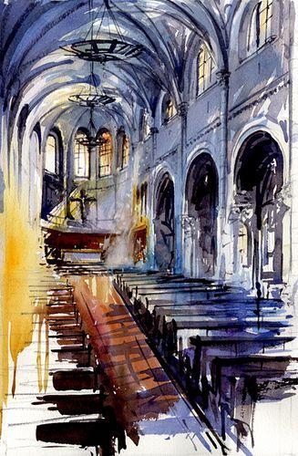 Tony Belobrajdic WATERCOLOR Church in Pornic, France