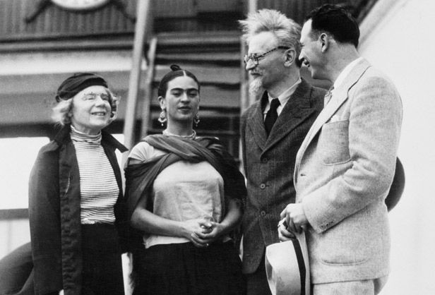 "Frida Kahlo greets Leon Trotsky and his wife Ruth and provides safe harbor for the exiled communist leader at her ""blue house"" in Mexico."