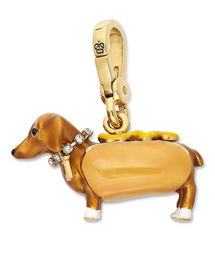 Juicy Couture Charm, Gold-Tone Hot Dog Bun Crystal Charm - Fashion Jewelry - Jewelry & Watches - Macy's