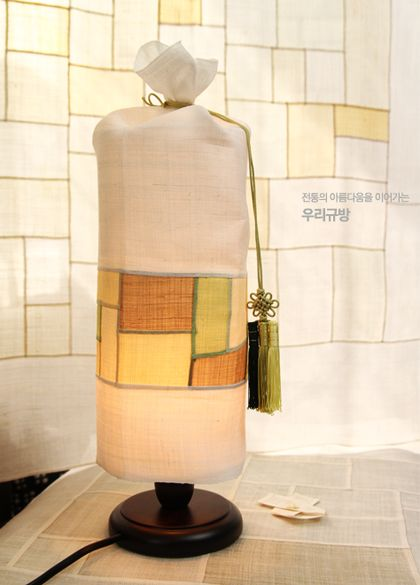 Pojagi sleeve dropped over a round lampshade - from a Korean Zenana Naver blog