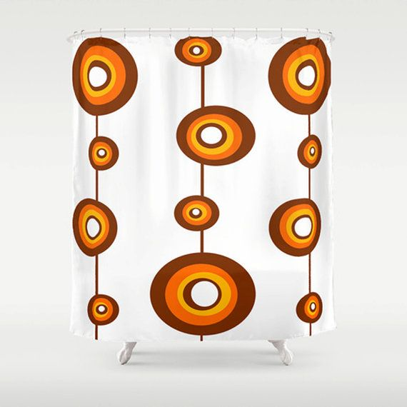 Orange & Brown Shower Curtain Mid Century by crashpaddesigns