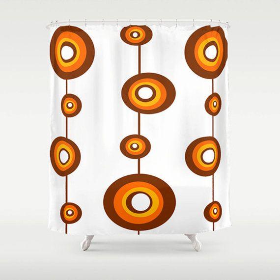 Orange & Brown Shower Curtain Mid Century by crashpaddesigns