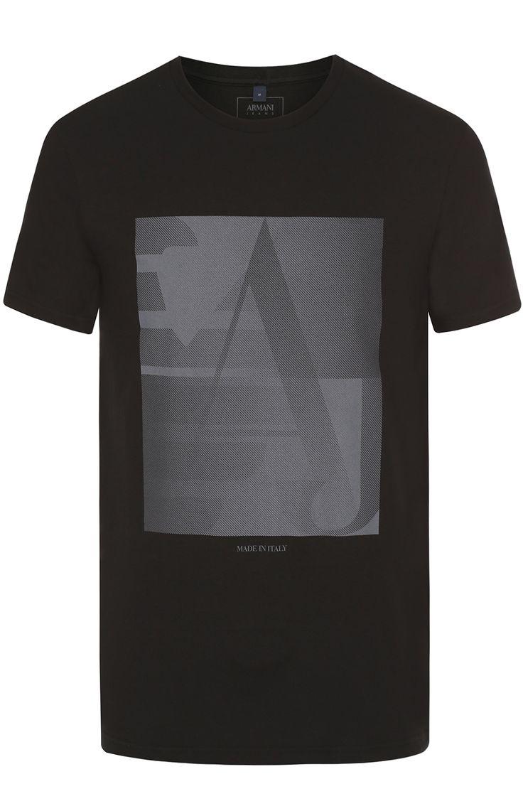 Мужская черная хлопковая футболка с контрастным принтом Armani Jeans, сезон SS 2017, арт. 3Y6T17/6J1FZ купить в ЦУМ | Фото №1