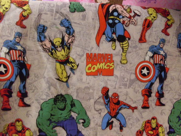 Marvel Superhero Collage Fabric By The Half Yard By