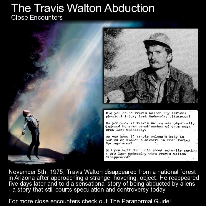 The Travis Walton Abduction. Here is an odd one... strange things happen, friends freak out, one is missing, the others are suspects of murder... then the missing Travis Walton makes contact and tells an incredible story. Cryptic... yes... head here for more info: http://www.theparanormalguide.com/blog/the-travis-walton-abduction