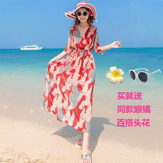 2017 새로운 보헤미안 해변 리조트 해변 드레스 태국에서 얇은 쉬폰 스커트 드레스 해변 관광을했다
