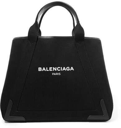 202f908915 Balenciaga - Cabas Leather-trimmed Printed Canvas Tote - Black ...