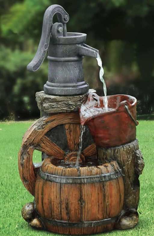 The water in the Pump and Bucket Fountain begins its journey flowing out of an…