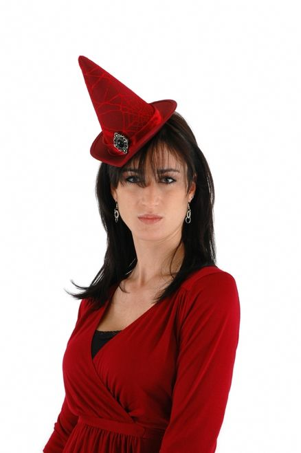 Red Mini Cocktail Spiderweb Witch Hat - Today's fashionable Halloween witch often wants a conical hat that fits the color and line of her witch's dress. With this smaller hat, fashionable witches can hit the party circuit without worrying about putting any eyes out. The spiderweb pattern gives it an extra dimension of style and Halloween magic. #halloween #hat #yyc #costume